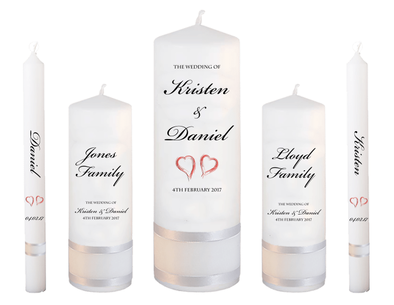 Wedding Candle Set Deluxe Formal font 1 - red hearts