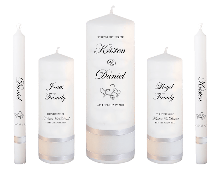 Wedding Candle Set Deluxe Formal font 2 - hearts