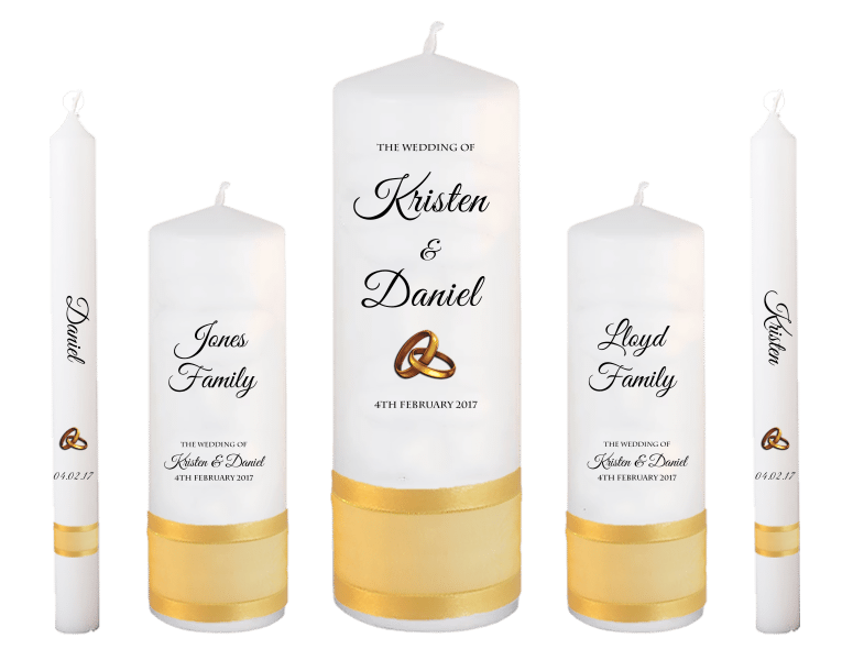 Wedding Candle Set Deluxe Formal font 5 - gold rings upright