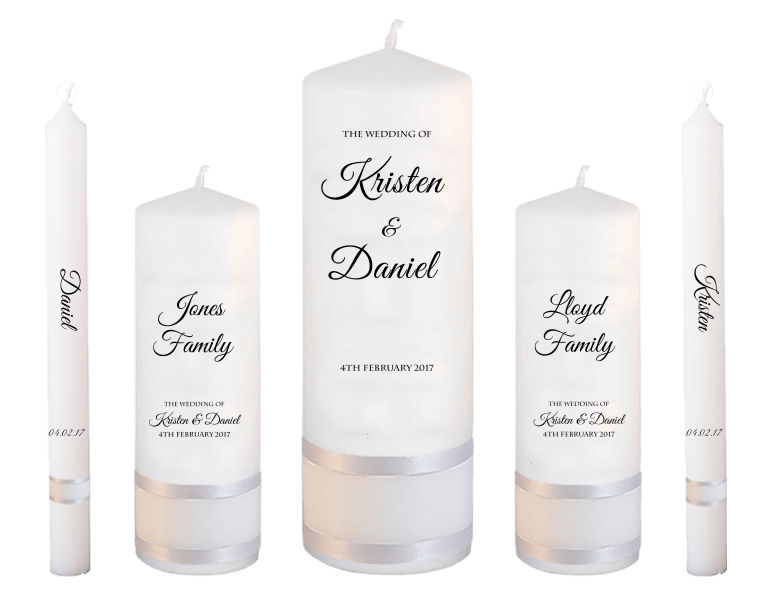 Wedding Candle Set Deluxe Formal font 5- no motif