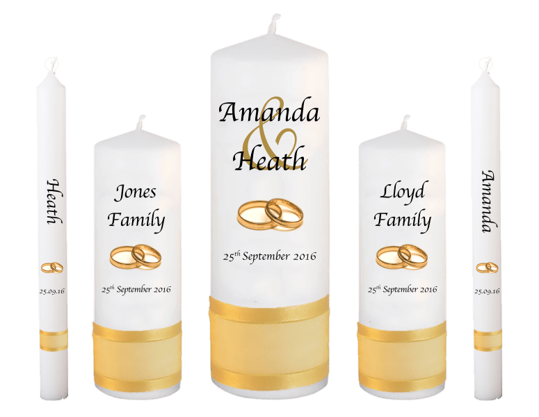 Wedding Candles Deluxe Set Modern font 1 gold rings