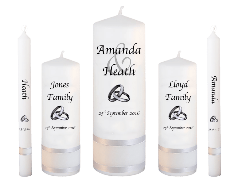 Wedding Candles Deluxe Set Modern font 1 silver rings upright
