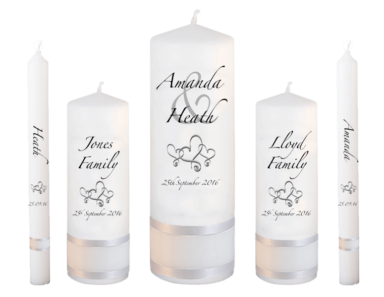 Wedding Candle Set Deluxe Modern font 3 hearts