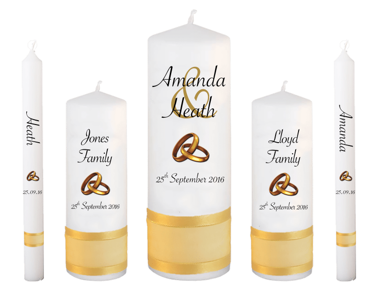 Wedding Candle Set Deluxe Modern font 4 gold rings upright
