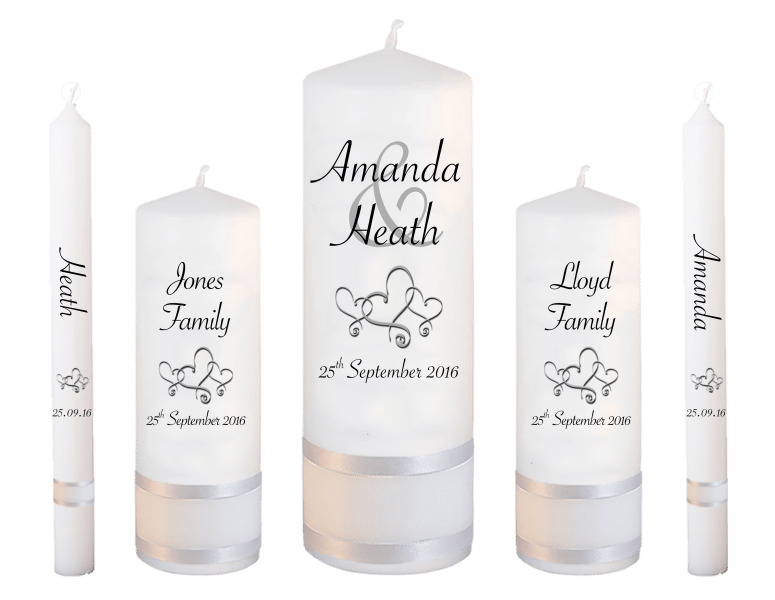 Wedding Candle Set Deluxe Modern font 4 hearts