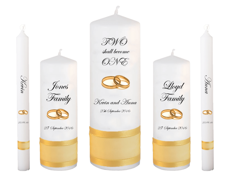 Wedding Candle Set Deluxe Inscription Font 2 Gold Rings