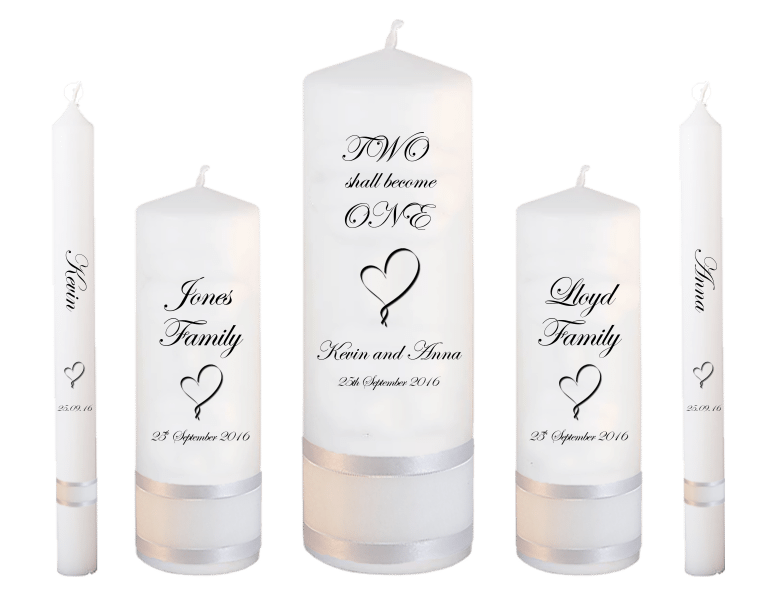Wedding Candle Set Deluxe Inscription Font 2 Heart