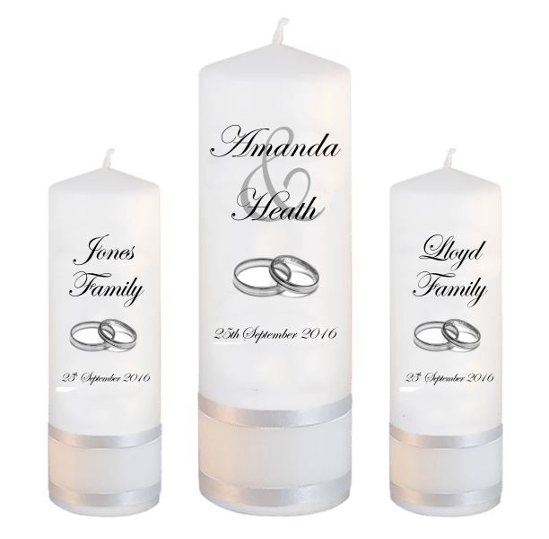 Wedding Unity Candle Set Modern Font 2 Silver Rings