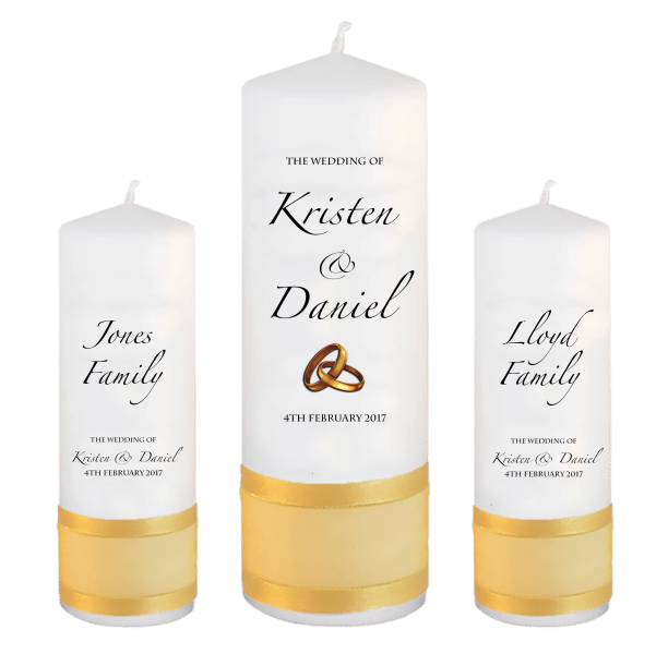 Wedding Candle Sets Formal font 4 - gold rings upright
