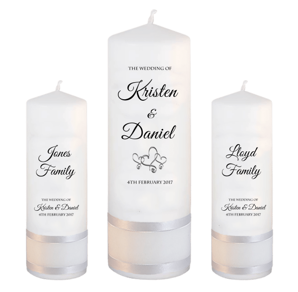 Wedding Candle Sets Formal font 5 - hearts