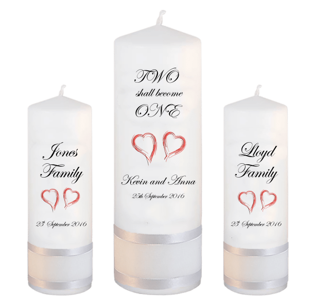 Wedding Candle Unity Set Two Shall Font 2 red hearts