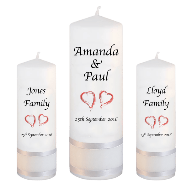 Wedding Candles Unity Set Classic Font 1 red hearts