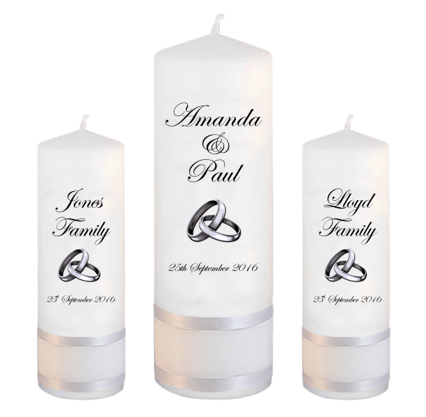 Wedding Candles Unity Set Classic font 2 silver rings upright