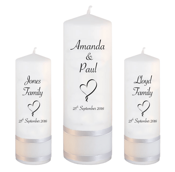 Wedding Candles Unity Set Classic Font 4 heart