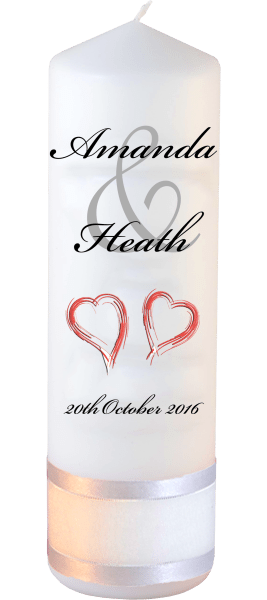 Wedding Candles Modern Font 5 Red Hearts