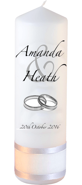 Wedding Candles Modern Design font 3 silver rings
