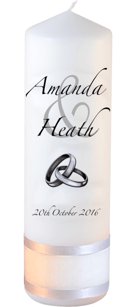 Wedding Candles Modern Design font 3 silver rings upright