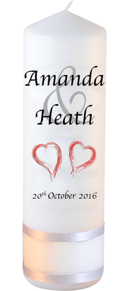 Wedding Candles Modern Font 1 Red Hearts