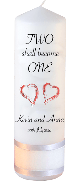 Wedding Candles Two Shall Become One Detail font 3 heartWedding Candles Inscription Font 4 red hearts