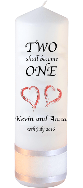 Wedding Candles Inscription Font 1 Red Hearts
