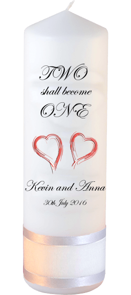 Wedding Candles Inscription Font 2 Red Hearts