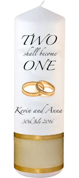 Wedding Candles Two Shall Become One Detail font 3 heartWedding Candles Inscription Font 3 gold rings