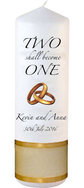 Wedding Candles Two Shall Become One Detail font 3 heartWedding Candles Inscription Font 3 gold rings upright