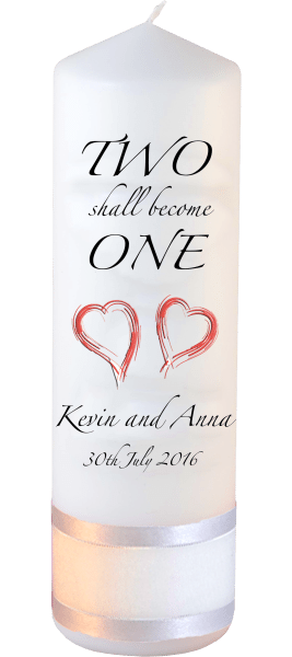 Wedding Candles Inscription Font 3 red hearts