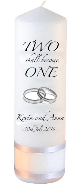 Wedding Candles Two Shall Become One Detail font 3 heartWedding Candles Inscription Font 3 silver rings