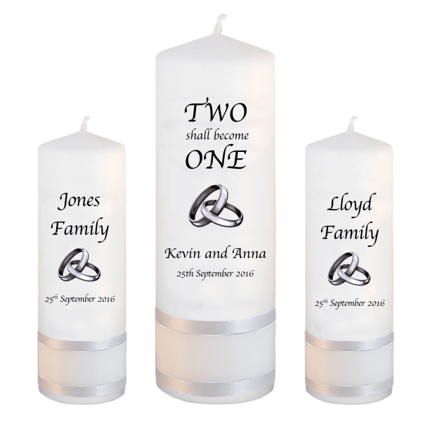 Wedding Unity Candle Set Inscription Font 1 Silver Rings Upright