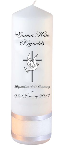 Baptism Candle Welcoming Font 3 Cross and Dove