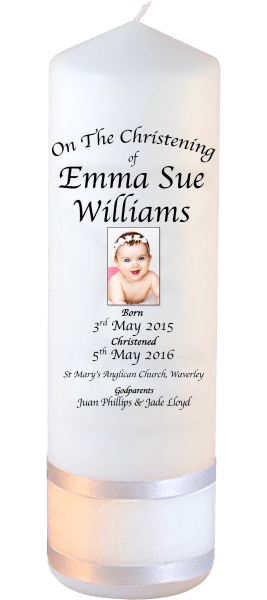 Christening Candles Deluxe Detail Font 2 Baby Picture