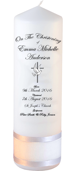 Christening Candles Deluxe Detail font 3 dove and cross