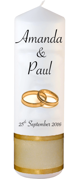 Wedding Candles Classic Detail font 4 gold rings