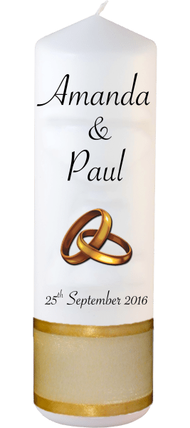 Wedding Candles Classic Detail font 4 gold rings upright