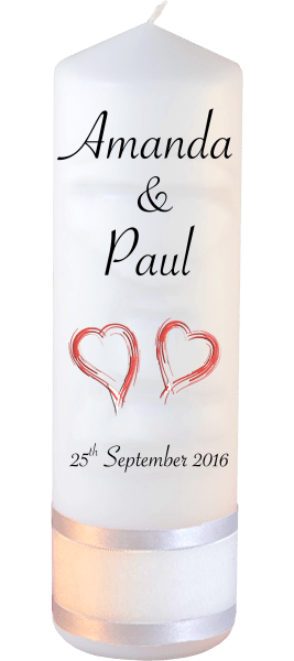Wedding Candles Classic Font 4 Red Hearts