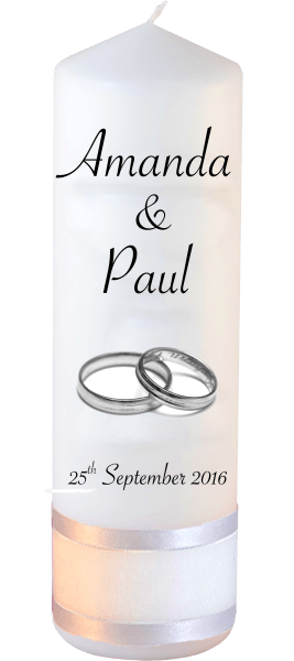 Wedding Candles Classic Detail font 4 silver rings