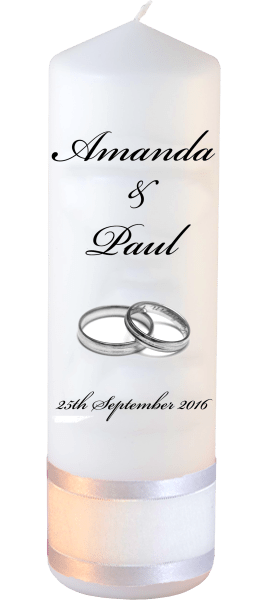Wedding Candles Classic Detail font 5 silver rings