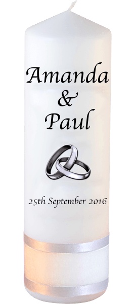 Wedding Candles Classic Detail font 1 silver rings upright