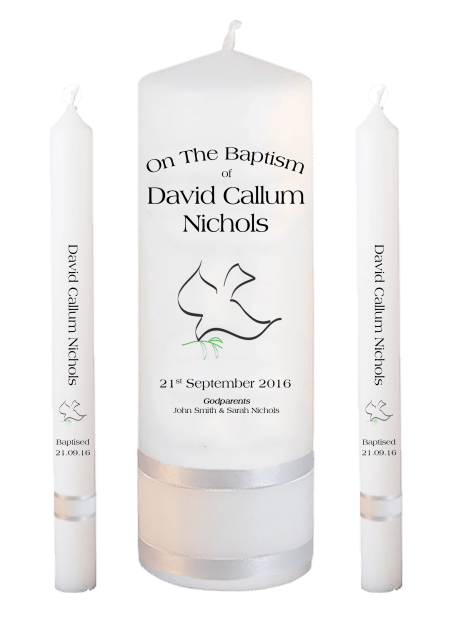 Baptism Candle Lighting Set Ceremony Plus Font 1 - dove