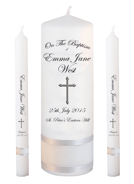 Baptism Candle Lighting Set Ceremony Plus Font 3 - cross