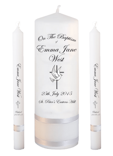 Baptism Candle Lighting Set Ceremony Plus Font 3 - cross and dove
