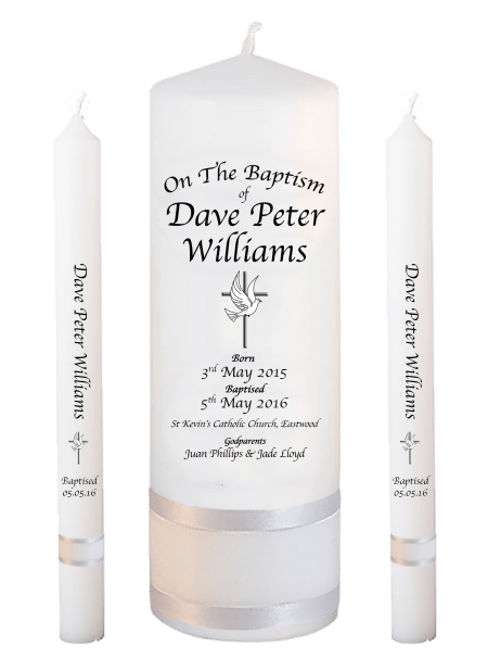 Baptism Candle Lighting Set Deluxe Font 2 - cross and dove