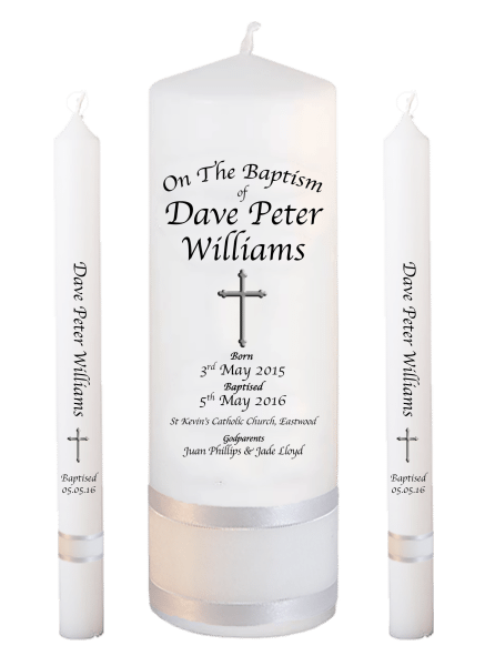 Baptism Candle Lighting Set Deluxe Font 2 - cross