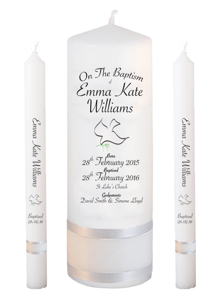 Baptism Candle Lighting Set Deluxe Font 5 - dove