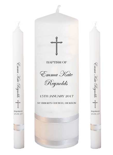 Baptism Candle Lighting Set Modern Font 4 - cross
