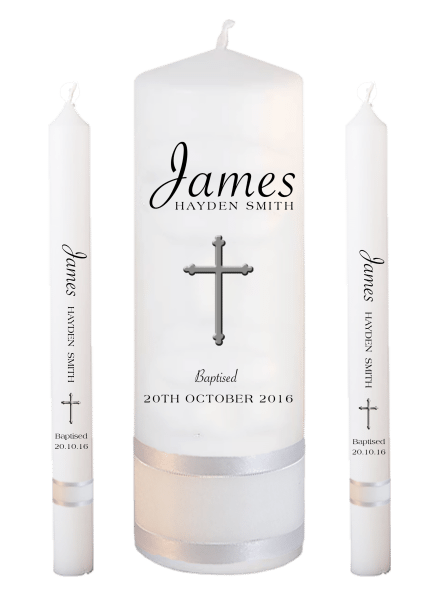 Baptism Candle Lighting Set Name Font 5 - Cross