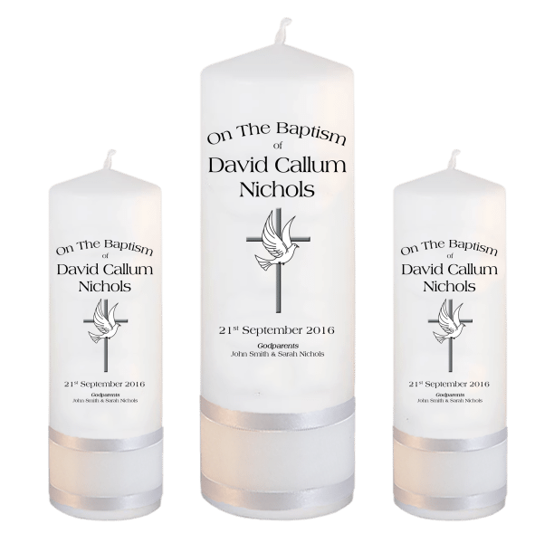 Baptism Candle Set Ceremony Plus Font 1 - cross and dove