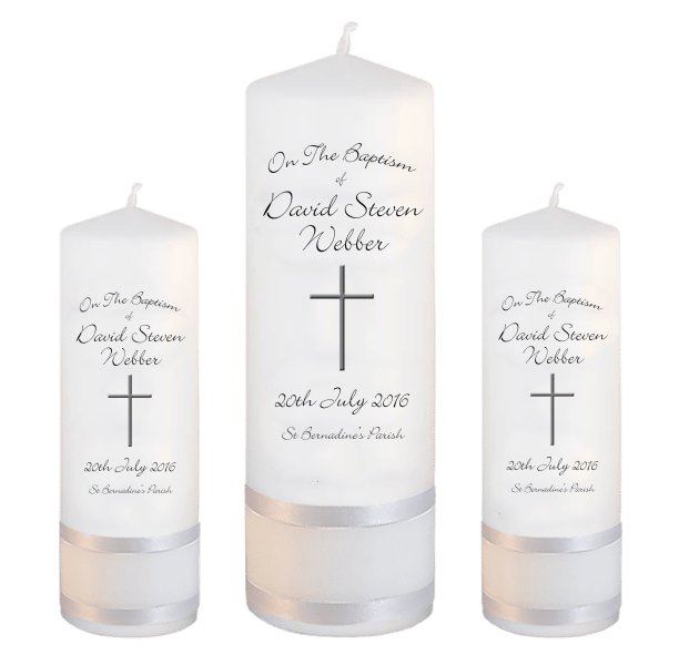 Baptism Candle Set Ceremony Plus Font 4 - cross 2