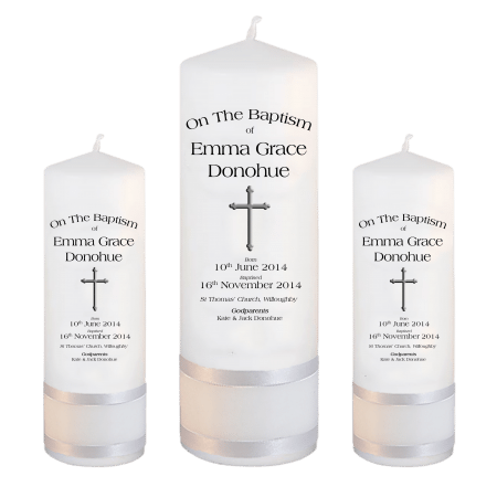 Baptism Candle Set Deluxe Font 1 - cross